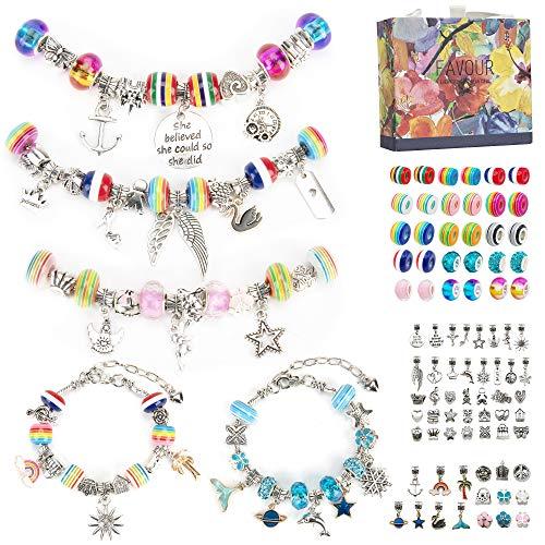 Aojun 89 pcs Armbänder Selber Machen Set Charm Armband Making DIY Kit Geschenke für Mädchen, Schmuck Basteln Bastelset für Mädchen Geschenke 6-13 Jahren