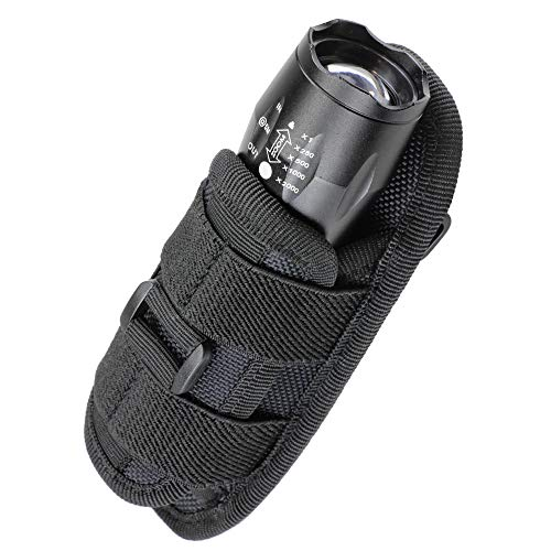 LIVANS Tactical Flashlight Pouch Holster, Rotatable Flashlight Holder Belt Clip Tactical Torch Carry Case with 360 Degree Carabiner Reel Clip