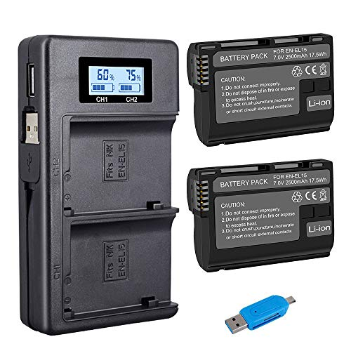 CITYORK Conjunto de carregador de bateria CITYORK EN-EL15 EN-EL15A para Nikon d750, d7500, d850, d800 e mais (bateria de substituição de 2 unidades 2500mAh, carregador de entrada micro USB, opção de carregamento versátil, 100% compatível com o original)