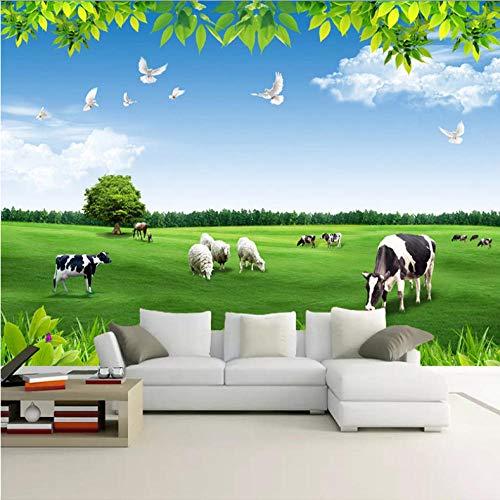 Pbbzl Gebruikergedefinieerde muurschildering papier blauwe hemel witte wolken koeien groenland natuurlandschap 3D foto achtergrond woonkamer slaapkamer behang 400 x 280 cm.