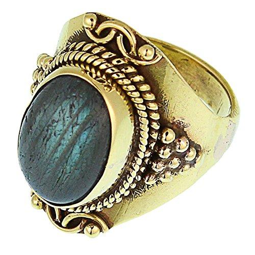 Chic-Net Messing Ringe Labradorit oval Bögen Seile Spitzen breit antik golden nickelfrei Tribal Schmuck 60 (19.1)