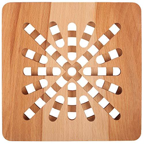 Creative Home Sottopentola Quadrata in Legno | 19,5 x 19,5 x 1,5 cm | Legno di Faggio Naturale | Reversibile | Protezione di Tavoli e Piani di Lavoro | Resistente al Calore e Rispettoso dell'Ambiente