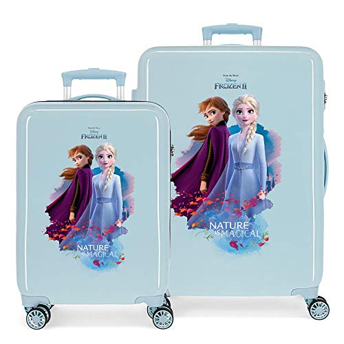 Disney Frozen Die Eiskönigin Nature is magical Kofferset Blau 55/65 cms Hartschalen ABS Kombinationsschloss 93L 4 Doppelräder Handgepäck