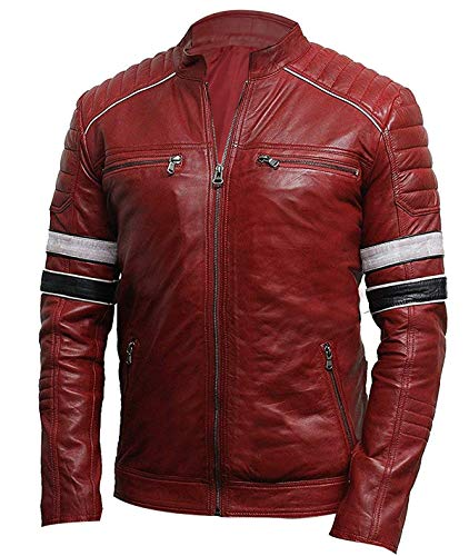 Men's Cafe Racer Red Retro Biker Brando Stripes Rider Vintage Motorcycle Quilted Leather Jacket