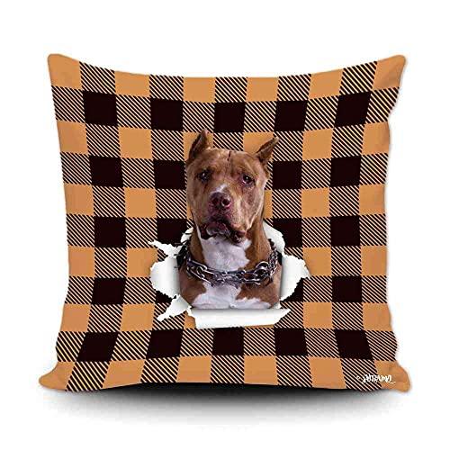 Funda de almohada a cuadros de búfalo naranja y negro con My Love Dog Pitbull para decoración del hogar, funda de cojín divertida para sofá, dormitorio, 20 x 50 cm, impresión de doble cara