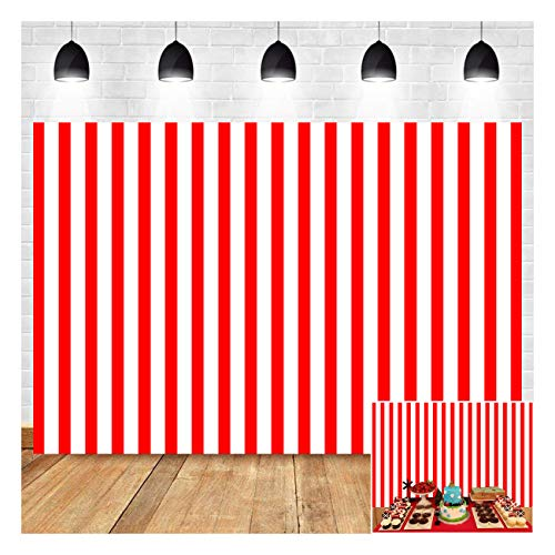 Hollywood Big Top Circus Theme Photography Background 7x5ft Vinyl Red and White Stripes Backdrop Children Birthday Party Supplies Baby Shower Banner Dessert Candy Cake Table Decor Supplies Props