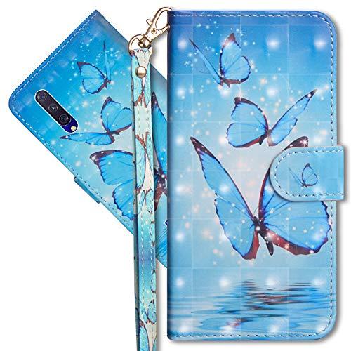 MRSTER Xiaomi Mi 9 Lite Handytasche, Leder Schutzhülle Brieftasche Hülle Flip Hülle 3D Muster Cover mit Kartenfach Magnet Tasche Handyhüllen für Xiaomi Mi 9 Lite/Mi CC9. YX 3D Butterfly Spring