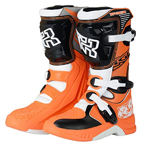 Stivali da Moto per Bambini Motocross Rider Approvati CE per MX ATV MTB Quad Bike Moto off Road Scarpe da Armatura Impermeabili Antiscivolo Traspiranti ad Alta Fibra (Pista Arancione),EU 37 ~ UK 3