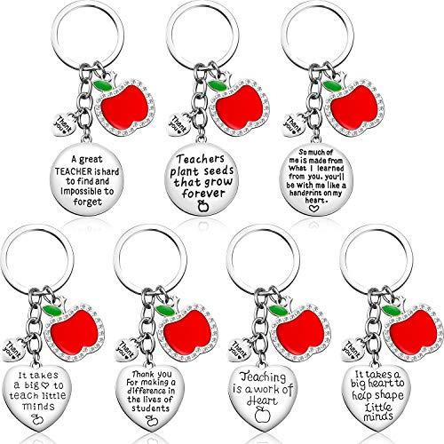 7 Piezas Profesor Manzana Llavero para Regalo de Agradecimiento a Maestras Regalo de Agradecimiento Regalo del Día de Acción de Gracias Set de Llaveros con Dije de Corazón Colgante