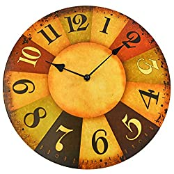 Home-X Brown Large Analog Wall Clock, Silent, Rustic Home Decor, 13 inch Quality Quartz Battery Operated Round Easy to Read Home/Office/Classroom/School