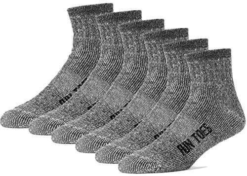 FUN TOES Merino Wool Ankle Socks Pack of 6 Arch Support and Cushioning Heel to Toe Reinforcement Ideal for Hiking (Black, Men 10-13)