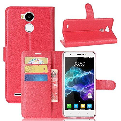 Owbb Hülle für Blackview R6 Ultra Schlanke Handyhülle Premium PU Ledertasche Flip Cover Wallet Case mit Stand Function Innenschlitzen Design Rot