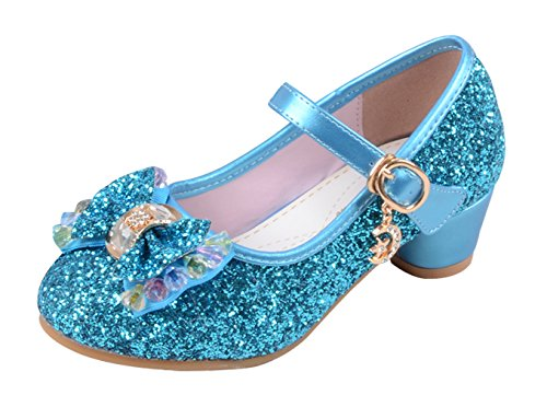 La Vogue Zapatos Zapatilla con Lentejuela Para Niña Princesa Fiesta Azul 28/Longitud Interior 18.5CM