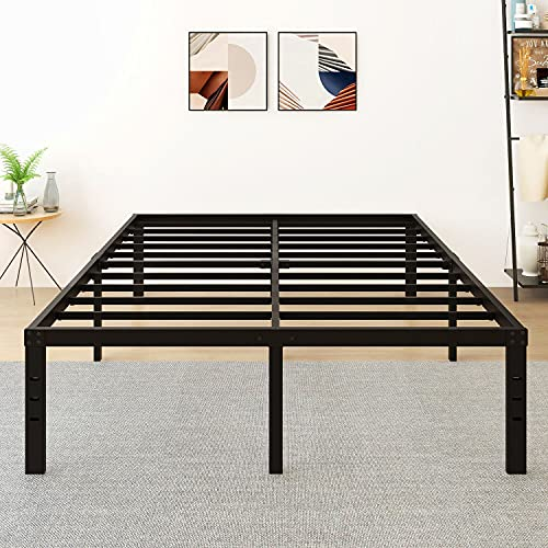 5566 LOTCAIN 18 Inch Metal Platform Bed Frame with Steel Slat Support/Mattress Foundation/No Box Spring Needed/Easy Assembly/Twin/Twin XL/Full/King/Cal King (Queen) Black