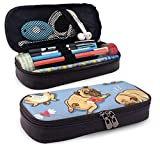 Simpatico Pug Pupies PU Leather Pencil Pen Astuccio Borsa con cerniera Materiale scolastico per studenti