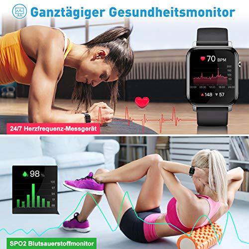Smartwatch, Fitnessuhr Fitness Tracker 1.4 Voller Touch Screen Smart Watch IP68 Wasserdicht Fitness Uhr mit Pulsuhr Schrittzähler Damen Herren Kinder Armbanduhr Pulsmesser Sportuhr für iOS Android