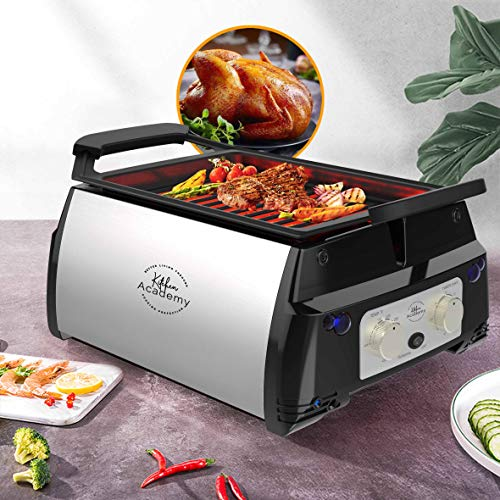 Kitchen Academy Electric Indoor Grill and Griddle Portable Rotisserie with Infrared Technology, Includes Kebab & Skewer Set, Fries Basket, Drip Tray, Easy to Clean