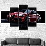 5 Piezas Material Tejido No Tejido Impresión Artística Imagen Coche Alfa Romeo Giulia GTA 2020 Dormitorios Decoración para El Hogar -No Tejido Lienzo Impresión- Modular Poster Mural