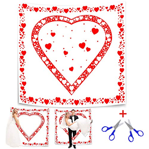 Belle Vous Altdeutsche Hochzeitstradition Laken 1.8x2m mit Herzmotiv zum Ausschneiden für Braut und Bräutigam - Bräutigam Trägt seine Braut durchs Herz - Hochzeitsherz für das Brautpaar Hochzeitsspiel