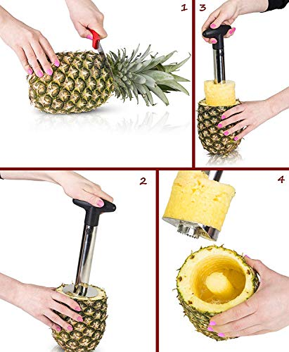 IPEC THERAPY Stainless Steel Corer All in All in One Pineapple Tool, Peeler, Slicer and Cutter   Non Slip Detachable Handle