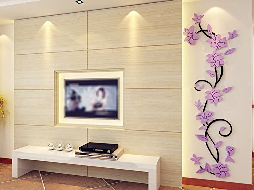 3D Acrylic Crystal Flower Mirror Wall Sticker DIY Removable Wall Art Mirror Decal Mural Home Decor for Living Room Bedroom Background