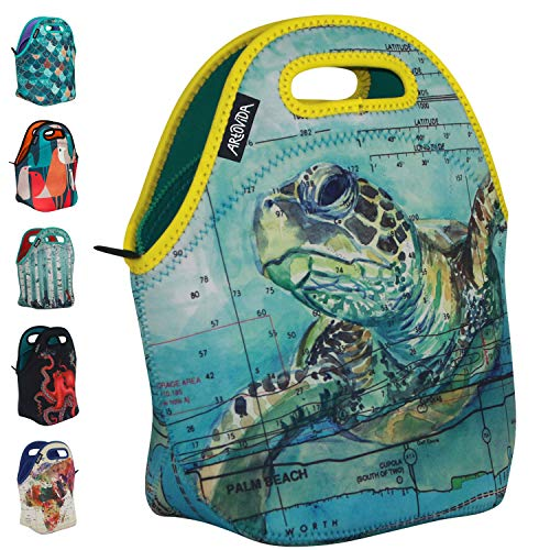Art of Lunch by ARTOVIDA Reusable Insulated Neoprene Lunch Bag for Women and Kids - By Carly Mejeur (USA) - A Portion of Profits/Royalties for Loggerhead Marine Life Center in Florida - Sea Turtle