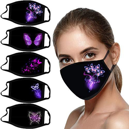 Lomelomme 5 Stücke Damen Schmetterling Print Mundschutz Halstuch mit Motiv Elegant Waschbar Wiederverwendbar Baumwolle Mund und Nasen Maske und Nasenschutz Bandanas