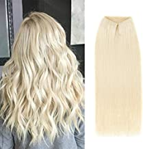 ABH AmazingBeauty Hair Halo Hair Extensions - Invisible Miracle Wire 100% Remy Human Hair, Ash Platinum Blonde 60A, 20 Inch