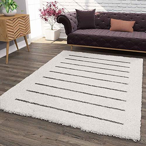 VIMODA Hochflor Teppich, Weicher Wohnzimmer Shaggy Skandinavischer Stil Streifen, Maße:80x150 cm