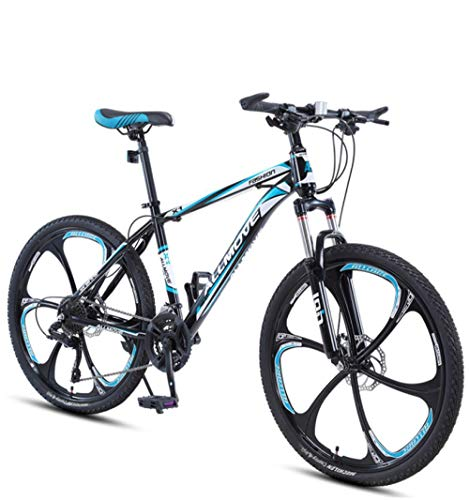 DGAGD 26 inch Mountain Bike Male and Female Adult Variable Speed Racing Ultra-Light Bicycle six-Cutter Wheel-Black Blue_21 Speed