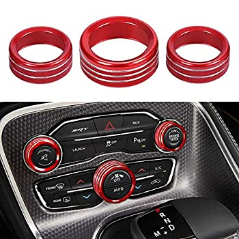 Thor-Ind AC Air Conditioner Volume Tune Knob Button Cover for Dodge Ram 1500 2500 3500 2013 2014-2018 for Dodge Challenger Charger Chrysler 300 300s 2015 2016 2017 2018 2019 2020  Red