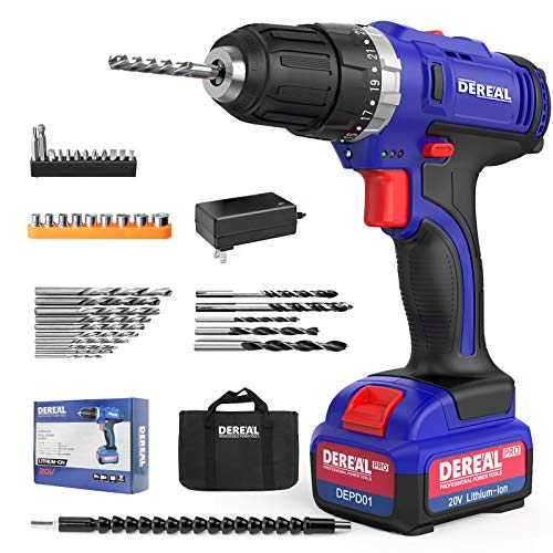 DEREAL Pro CordlessDrillDriverToolsSet 20V Max Lithium Ion Power Drill Driver Kit Electric Screwdriver with Accessories 3/8quot Keyless Chuck 350inlb Torque 231 Setting Variable Speed with LED