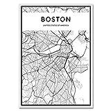 LiMengQi Mapa de Ciudades del Mundo en Blanco y Negro, Nueva York, Tokio, París, Póster Artístico en Lienzo, Impresiones, Pinturas de Estilo nórdico, Imagen para Sala de Estar(No Frame)