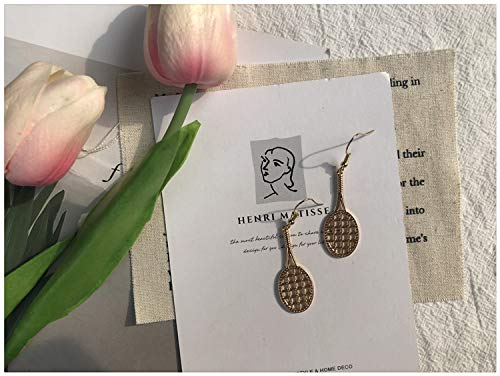Chwewxi Pendientes Simples de Temperamento Mujer Cara árbol de Coco corazón círculo Grande aretes Ventilador Viento frío Clip de Oreja, par de Gancho de Oreja de Raqueta M16