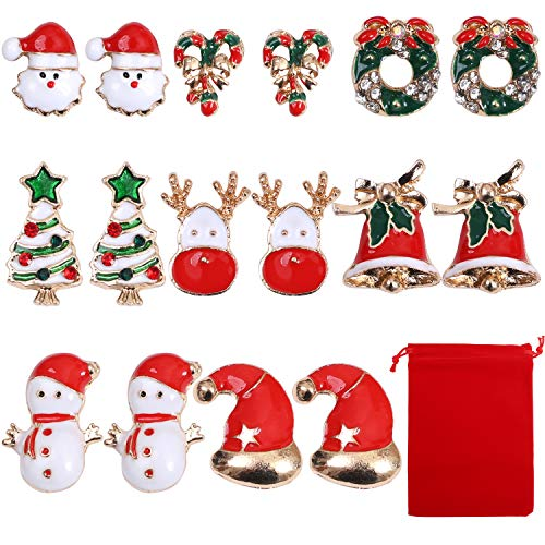 Aneco 8 Pairs Christmas Women Stud Earrings Teens Girls Cute Christmas Stud Earrings with red Velvet Storage Bag for Xmas Party Festive and Christmas Gifts (Style B)