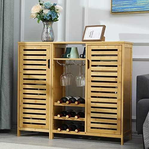 VIAGDO Buffetschrank Weinschrank Sideboard mit Weinregal und Weinglashalter, Küchenschrank mit 2 Lamellentür und offenen Fächern H x B x T: ca. 87 x 99 x 33 cm