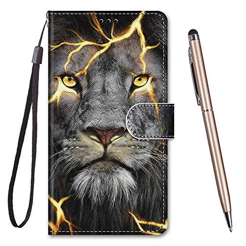 TOUCASA für Honor 8X Hülle, Handyhülle für Honor 8X,Premium Brieftasche PU Leder Flip [Kreativ Gemalt] Stoßfeste Case Handytasche Klapphülle für Huawei Honor 8X,Spaltlöwe