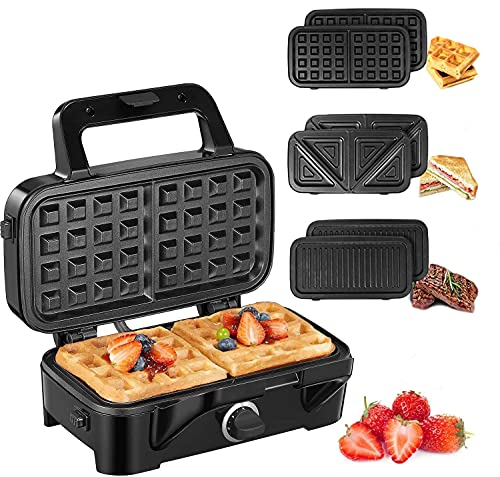 Waffle Maker 3 in 1 Sandwich Maker 1200W Panini Press With Removable Plates and 5-gear...