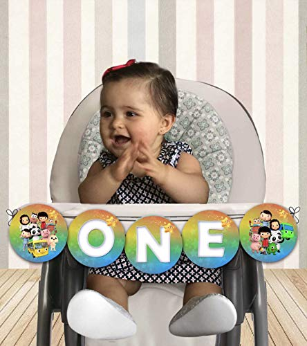 Little Baby Bum High Chair Banner - ONE - Cardstock Cover 80lb - Comes with Ribbon for Hanging - 25in approx length