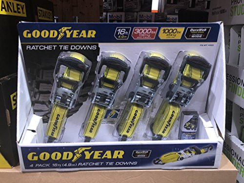 GoodYear Comercial Grade 16 Foot 8 Piece Ratchet Tie Down Straps