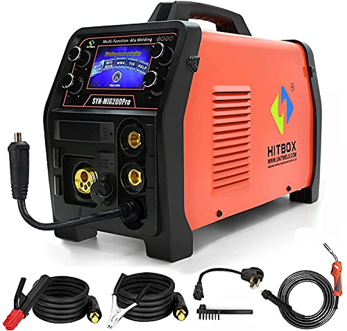 HITBOX 4 in 1 MIG Welder - 110V/220V 200Amp Smart DC Inverter TIG Welder, Smart Control IGBT Inverter TIG MIG MMA Stick Mix Gases Gasless Flux Cored Solid Core Wire Welding Machine SYNMIG200PRO