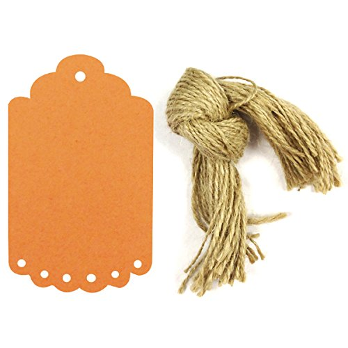 allydrew 50 Gift Tags/Kraft Hang Tags with Free Cut Strings for Gifts, Crafts & Price Tags, Large Scalloped Edge (Orange)