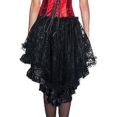 COSWE Women's Solid Color Lace Asymmetrical High Low Corset Skirt Plus Size Black (2XL) #1