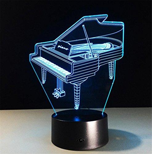 Veilleuses Illusions Optiques Piano Lamp bureau 3d 7 couleurs Changement tactile interrupteur à distance Tableau de commande LED Night Light Lighting Décoration Accessoires pour la maison
