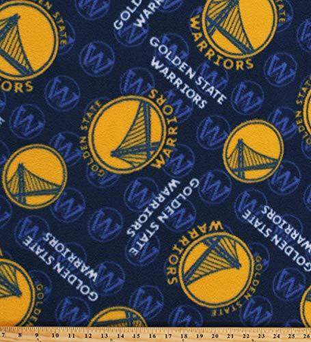 Fleece NBA Golden State Warriors Blue Pro Basketball Sports Team Fleece Fabric Print by The Yard (A609.46)
