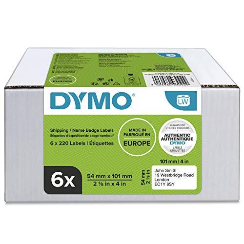 Dymo LabelWriter-Versand- / Namensschild-Etiketten| 54 mm x 101 mm | 6 Rollen mit je 220 leicht ablösbaren Etiketten (1.320 Etiketten) | selbstklebend | für LabelWriter-Beschriftungsgeräte