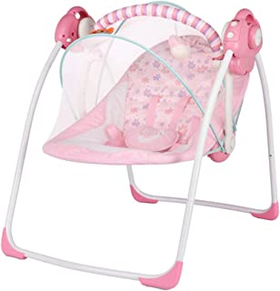 Baby Bouncer Chair Electric Swing Rocker with Removable Mosquito Net Calming Vibrations Soothing Music Easy to Store and C...