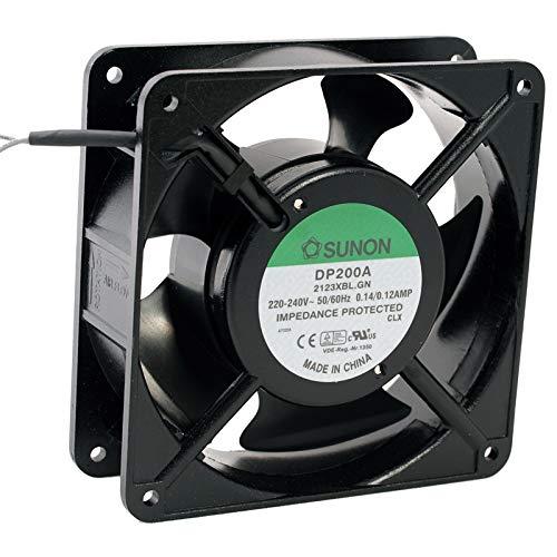 Kessler-electronic DP200A-2123XBL.GN - Ventilador axial SUNONON, 120 x 120 x 38 mm, 230 V ~ 165 m³/h, 2850 rpm, incluye hoja de datos como código QR