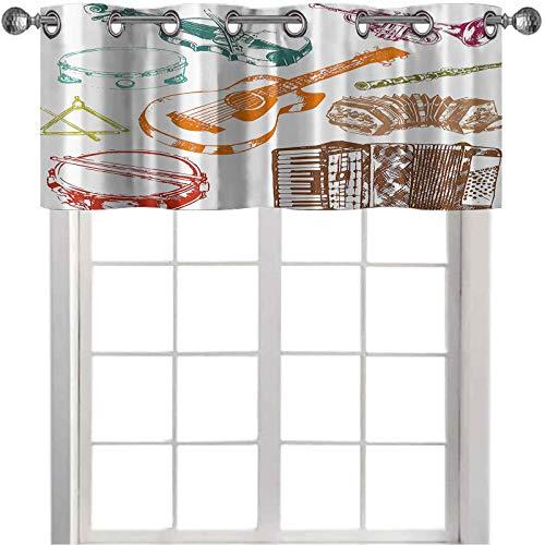 Cortina opaca con cenefa para instrumentos de concierto, guitarra, acordeón, tambor de jazz, ilustración retro, clásica, 106,7 x 45,7 cm, para cocina, cocina, sala de estar, multicolor