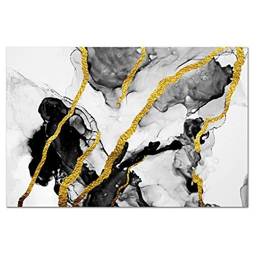 Impresiones en Lienzo Oro Negro Blanco Arte de la Pared Pintura al óleo Abstracta Carteles Modernos y escandinavos Arte Decoración de la Sala de Estar (50x70cm) Sin Marco
